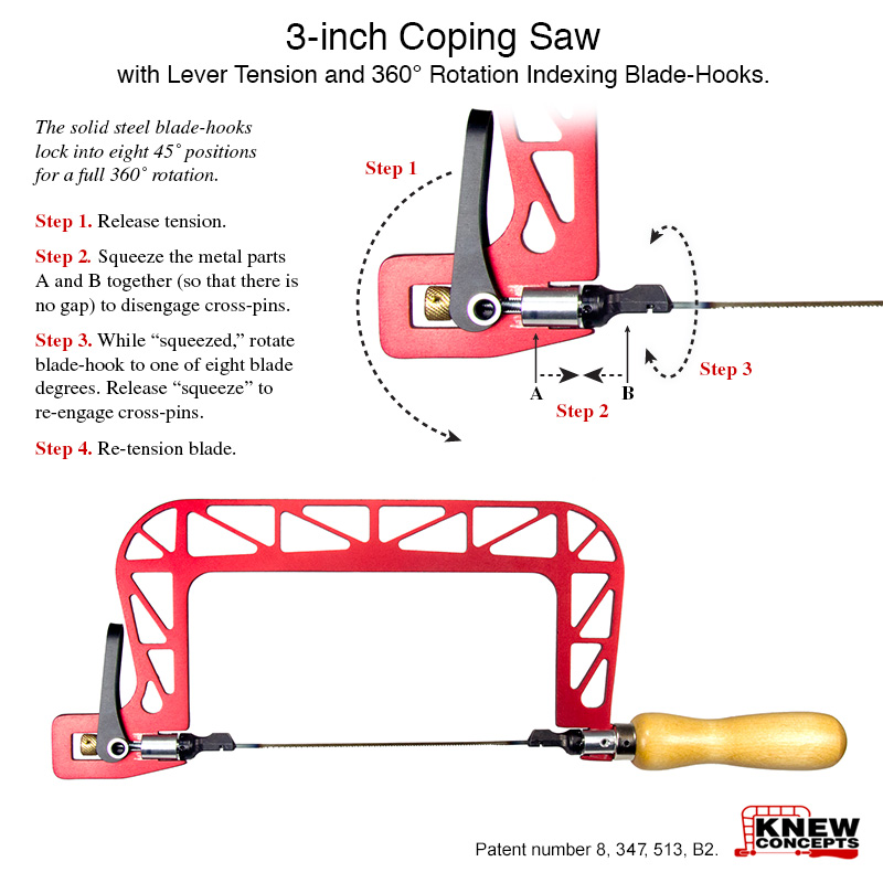 Knew concepts coping saws 3 inch coping saw patent number 8 347 513 b2 view enlarged image for blade indexing instructions greentooth Gallery